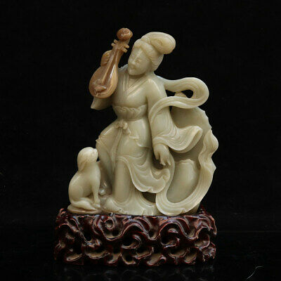 Chinese Exquisite Hand-carved Hetian jade fairy statue