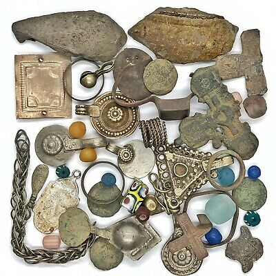 Medieval Byzantine & Post Middle Ages Artifact Lot Christian Cross Amulet Old