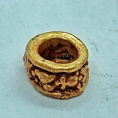 Late Or Post Medieval Gold Gilded Bead Byzantine Style Europe Antiquity Artifact