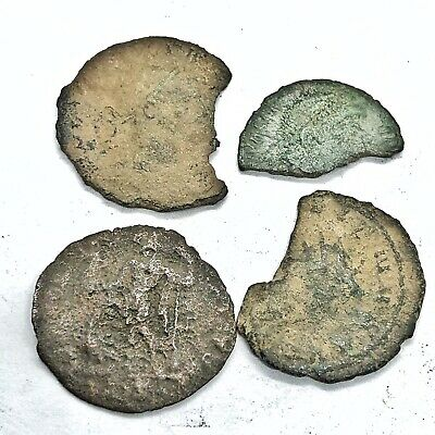 4 Ancient Roman Empire Copper Coins Artifacts European Finds Old Bible Tokens