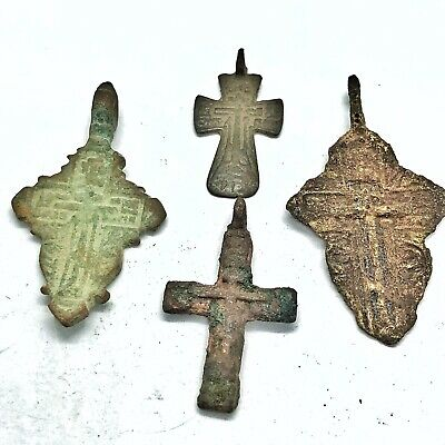 4 Antique 1500-1800's Orthodox Christian Cross Artifacts Russian Byzantine Old