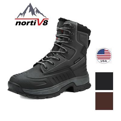 NORTIV 8 Men's Lace Up Snow Boots Warm Insulated Waterproof Outdoor Hiking Boots