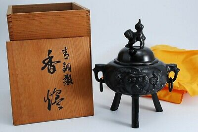 Japanese Old copper INCENSE BURNER Tea CEREMONY THREE-FOOTED KOGO LION w/ Box
