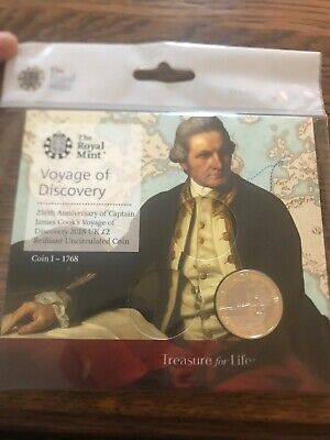 2018 Royal Mint Captain James Cook Bu Coin.two Pound. Uncirculated £2 Gift Pack