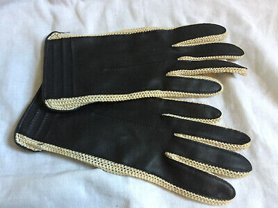 VINTAGE Ladies Black Genuine Leather & Crochet Driving Gloves - Size 6.5