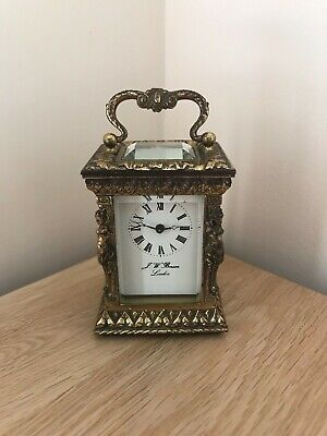 Vintage J.W. Benson Miniature Ornate Gilt Boudoir Carriage Mantle Clock
