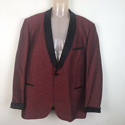Alba Vintage jacquard tuxedo Jacket Shawl Collar Red Detail 38 Inch Chest
