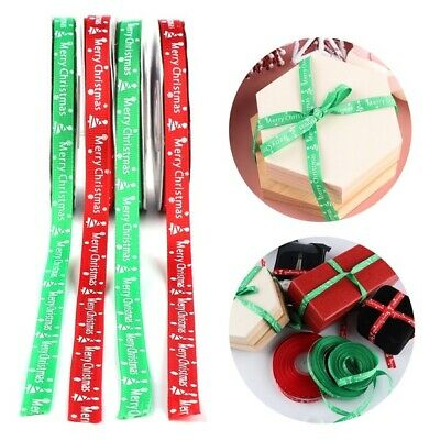 25 Yards Happy Merry Christmas Ribbons Snowflakes Ribbon Gift Wrapping 22 Meter