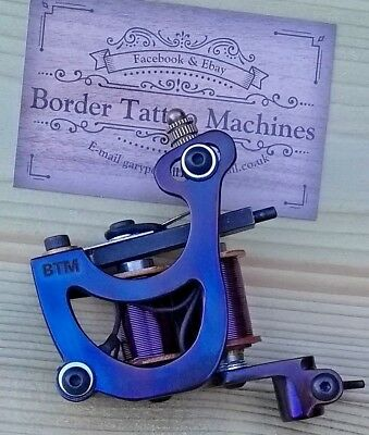 Border Tattoo Machine,Cut-Back-Liner,Custom Iron Blued Frame Purple 8 Layer Coil