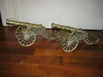 2 x matching Large size Vintage solid Brass Cannons