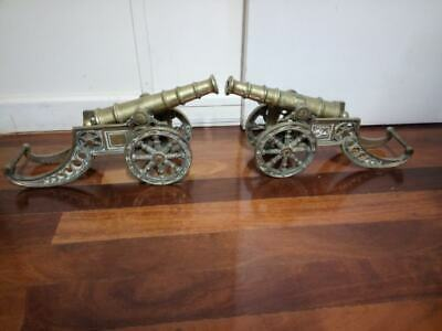2 x Large very heavy vintage British solid Brass Cannons 9KG