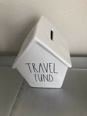 New Rae Dunn Birdhouse Bank TRAVEL FUND Savings Piggy Bank