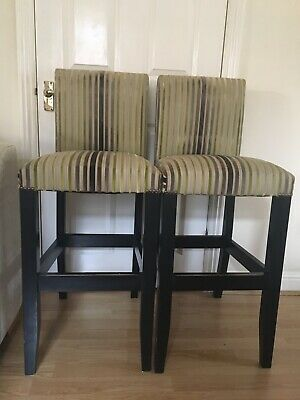 Pair Of Upholstered Bar/Breakfast/Kitchen High Stools, Wooden Legs