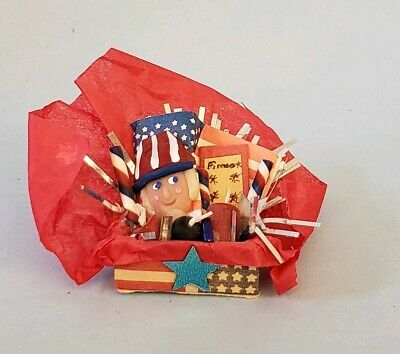 3pc Miniature Dollhouse Storage Gift Box Set 4th of July Patriotic Handcrafted