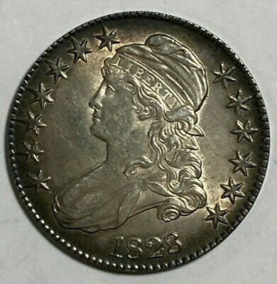 1828 Square Base 2 Small 8s Large Letters O-120 R-1 Capped Bust US Half Dollar