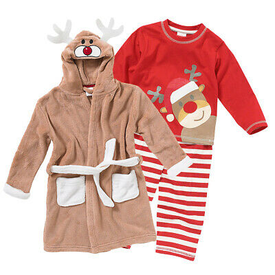Childs Boys Girls Christmas Eve Gift Set Reindeer Fleece Robe Gown & Pyjamas