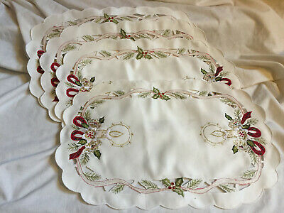 Set of 4 CHRISTMAS Embroidered Oval Placemats Table Mats - Candle Holly