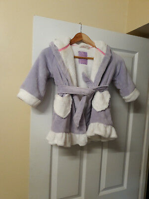 Girls used fleece hooded dressing gown lilac/white to fit age 1-2 years