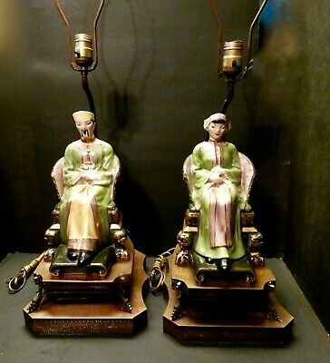 Rare Pair of Asian Figurine Lamps with Gold Detail- Chinese Man & Woman
