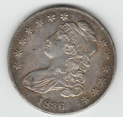 1836 Lettered Edge O-122 R-2 Capped Bust Silver US Half Dollar