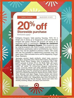 Target 20% Off  STOREWIDE/ONLINE  12/3-12/14/19! CHECK EXCLUSIONS!!!