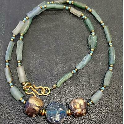 Lovely Necklace with Ancient Roman Glass & wood beads Necklace   # 67