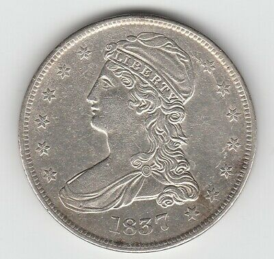 1837 Reeded Edge Capped Bust Silver US Half Dollar