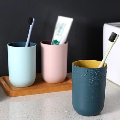 Home Bathroom Plastic Mouthwash Washing Cup Toothbrush Cup Toothpaste Holders US