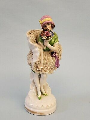 Antique German Dresden Lace Art Deco Lady Flapper Dancer Porcelain Figurine