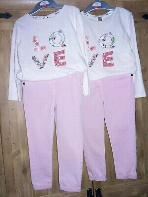Twin Girls Clothes Bundle Age 2-3 Top's & Jeans Trousers - 4 Items.