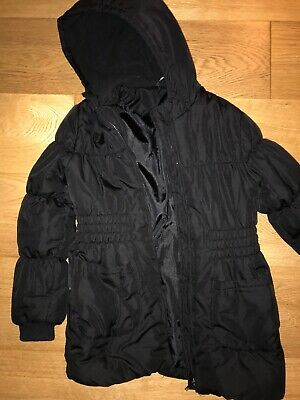 George Girls Black Padded Coat With Hood - Age 9-10 years