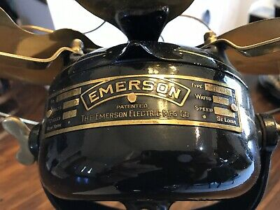 "Antique 12"" Emerson #14646 Rib-Base Fan BRASS BLADES & BRASS CAGE-"