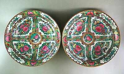 Pair of large antique Chinese Canton Famille Rose Bowls 1900 china porcelaine