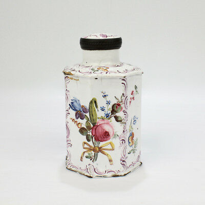 18th Cent English South Staffordshire or Battersea Enamel Green Tea Caddy - VR