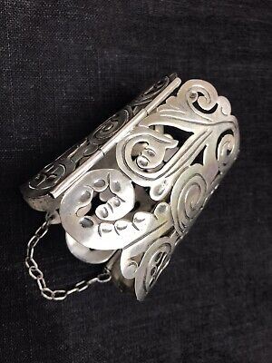 VTG Sterling Mexico Taxco Wide Floral Cuff Bracelet-Museum Quality 40's