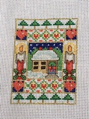 completed unmounted cross stitch Christmas card - Christmas scene