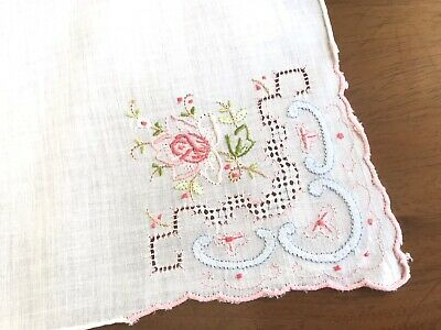 Vintage Hand Embroidered Appliqué ROSE White Lawn Ladies Handkerchief 12X12""