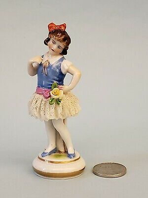 Antique German Dresden Lace Art Deco Girl Flapper Dancer Porcelain Figurine