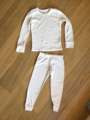M&S John Lewis Girl White Winter Thermal Base Layer Vest Trousers 3-4 Years