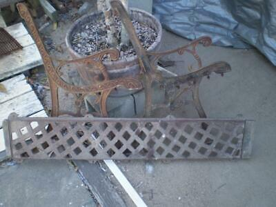 Pair art deco style cast iron park bench ends and back rest & support strap