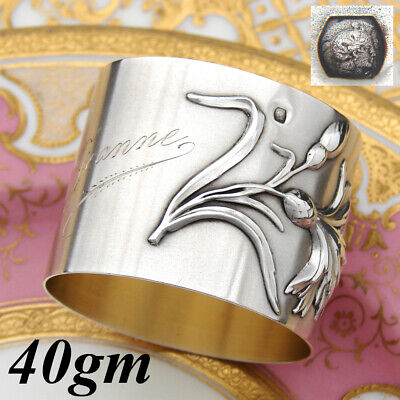 "Antique French Sterling Silver Napkin Ring, Art Nouveau Thistle Floral, ""Jeanne"""