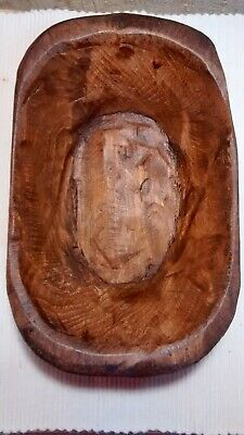 """Dough Bowl Primitive Wood Trencher Tray Rustic Home Decor Approx. 8-11""""L-S"""