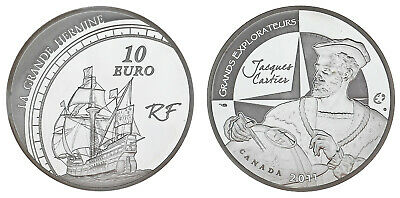 10 Silver Eur France /10 Eur Silver Francia. 2011. the Big Hermine. Proof