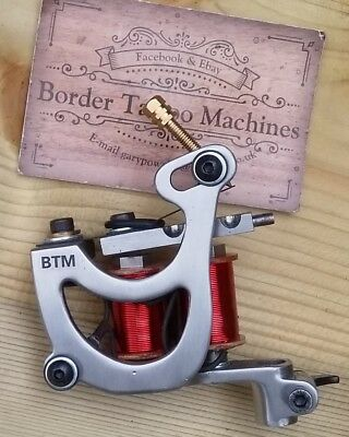 Border Tattoo Machine, Shader/Packer Custom Iron Frame Custom Red 8 Layer Coils