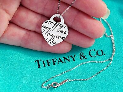 Tiffany & Co Sterling Silver I Love You Medium Heart Tag Charm Necklace