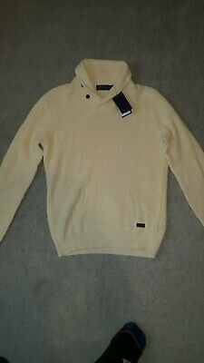 Genuine Polo by Ralph Lauren Mens Shawl Neck Jumper Cream Size M RRP £130