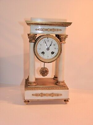 Antique French Empire 8 Day Striking Marble & Gilt Portico Mantel Clock
