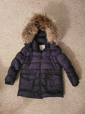 Moncler Down Filled Puffer Navy Jacket Coat Removable Fur Hood Size 6 yrs 116cm