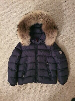 Moncler Down Filled Puffer Navy Jacket Coat Removable Fur Trim Size 8 yrs 130cm