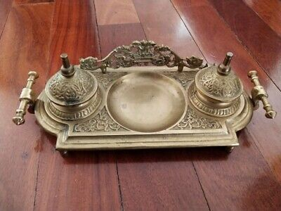 Vintage solid brass inkwell